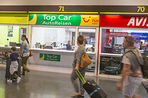 Car rental desks at Gran Canaria airport