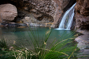Charco Azul pool and waterfall in north west Gran Canaria