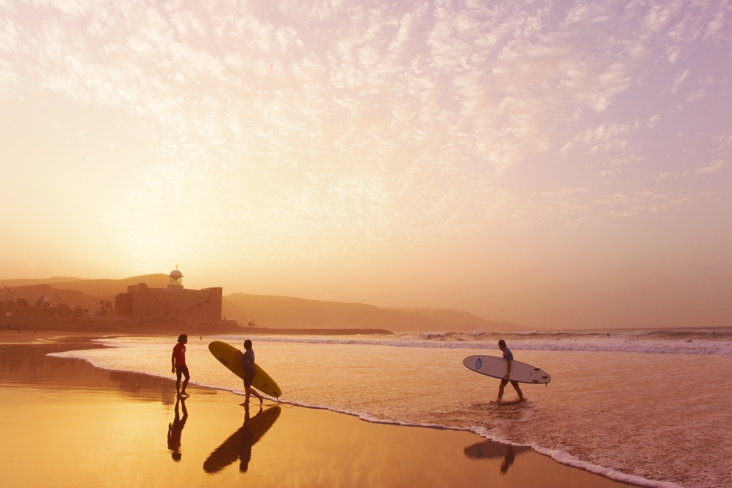 Surfers on Las Canteras beach