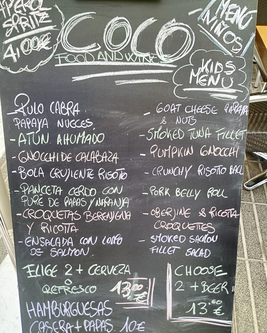 COCO Food menu and prices