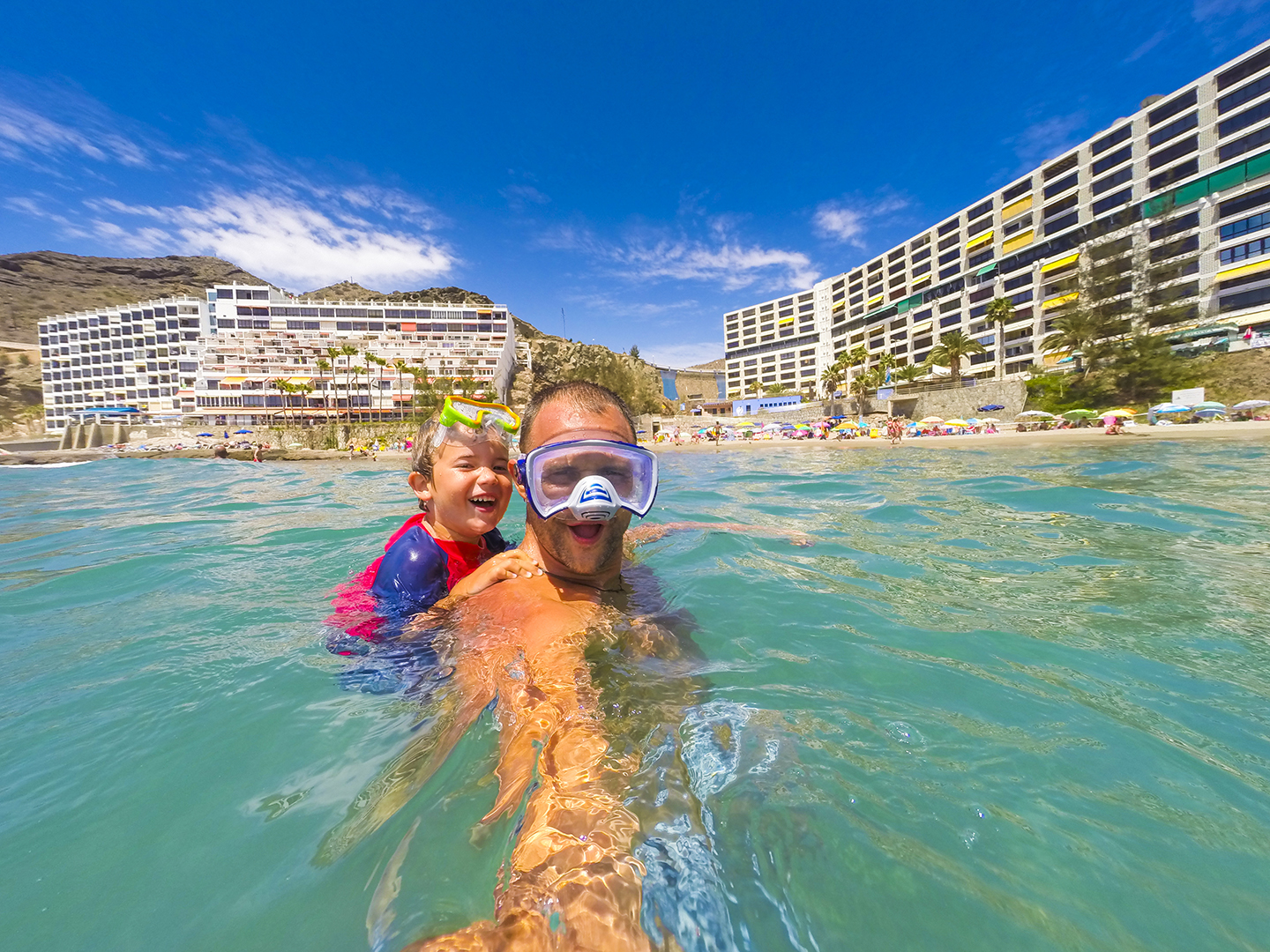 Swimming selfie at Patalavaca beach in Gran Canaria
