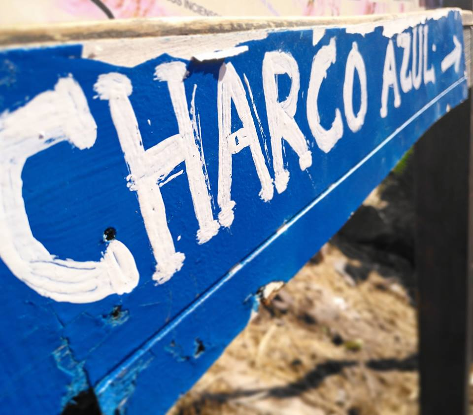 charco Azul walk: Sign on the walk from El Risco to Gran Canaria's Blue Pool