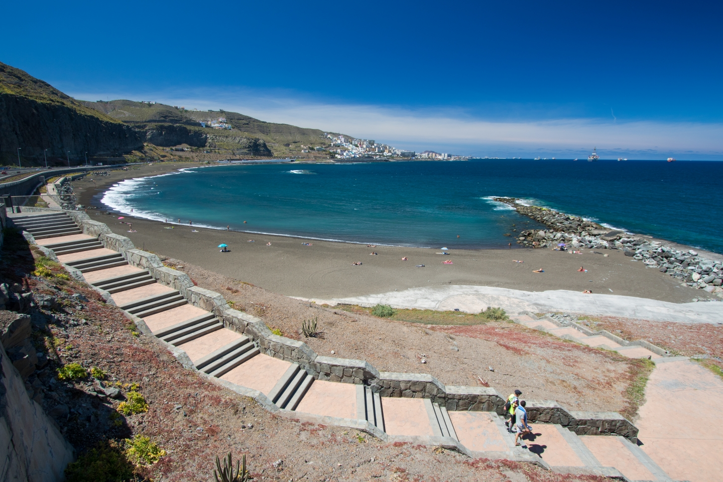 La Laja beach in north east Gran Canaria is nudist
