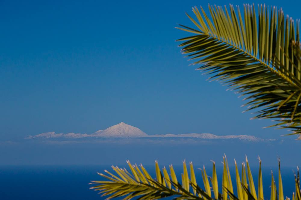 Teide volcano covered in snow
