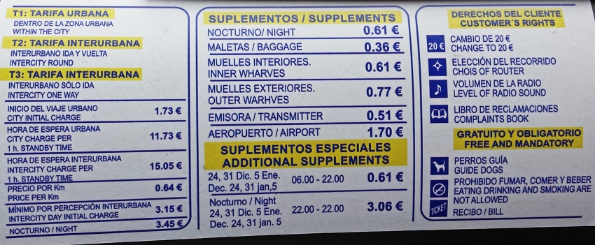 Las Palmas taxi prices and charges