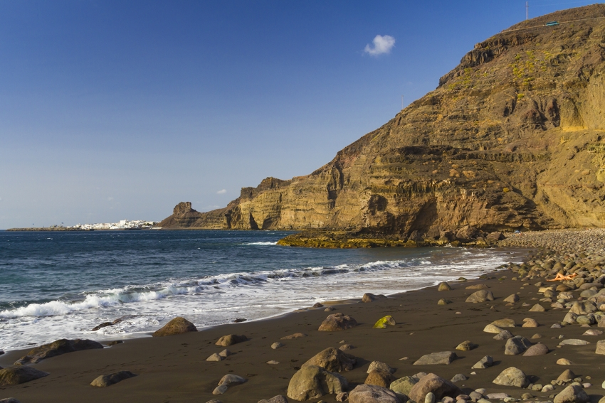 Guayedra nudist beach in north west Gran Canaria
