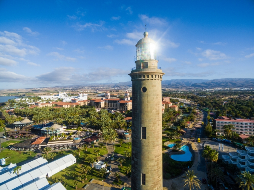 The iconic Maspalomas lighthouse in Gran Canaria