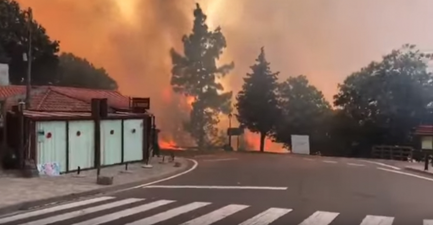 The Gran Canaria forest fire reaches Cruz de Tejeda