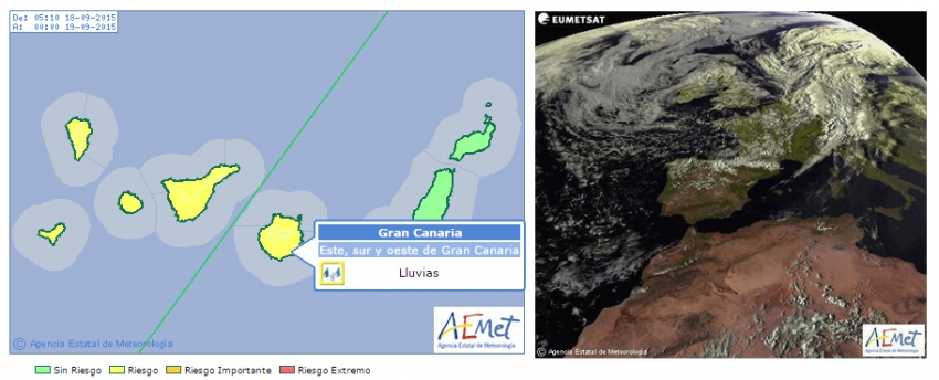 Rain forecast in Gran Canaria for today, September 18