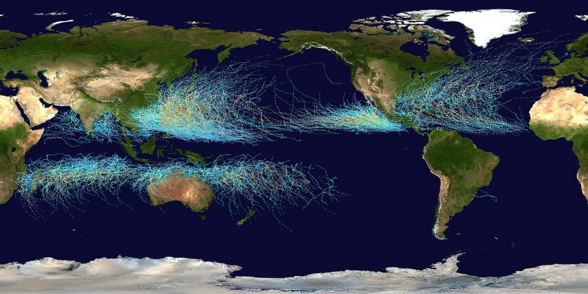 Map of tropical storms in the Atlantic Ocean