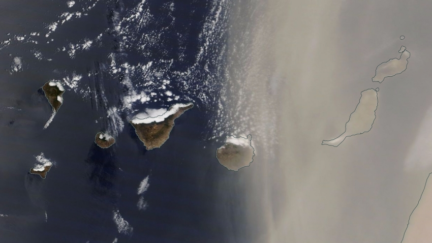 Saharan dust over Gran Canaria seen from space