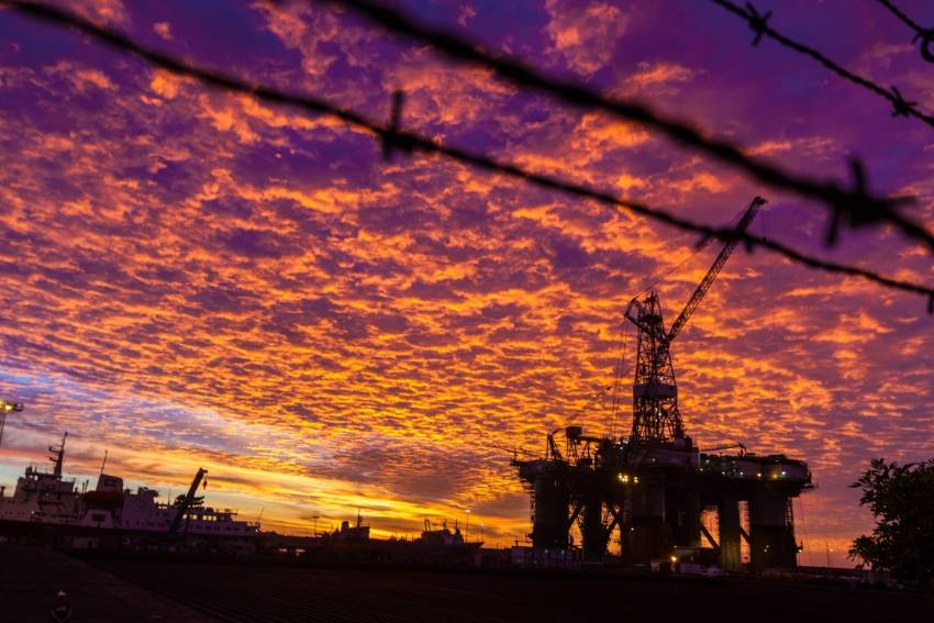 Oil platform in Las Palmas harbour at sunrise