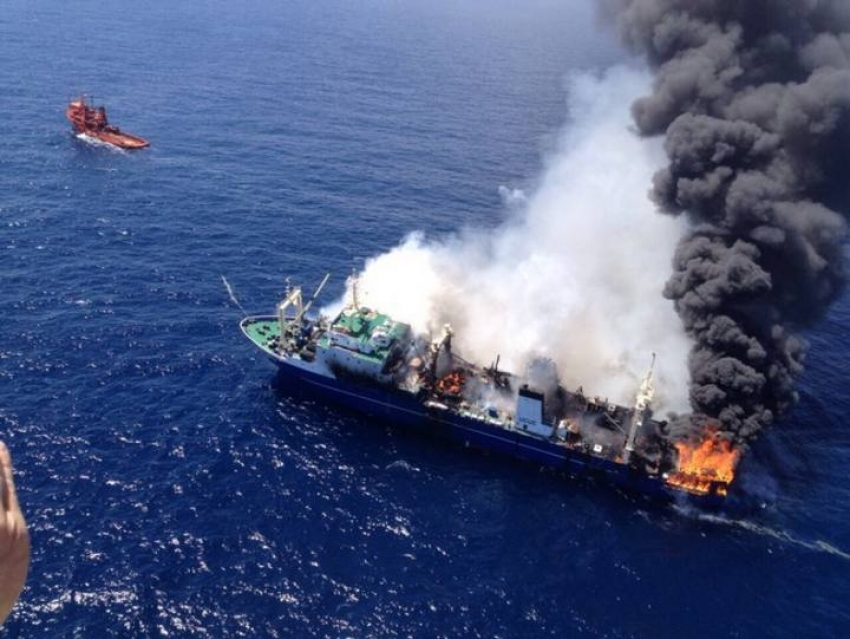 The Oleg Naydenov on fire before sinking