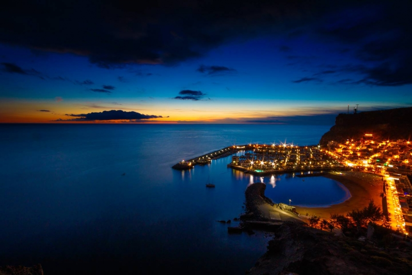 Puerto de Mogan marina in the evening
