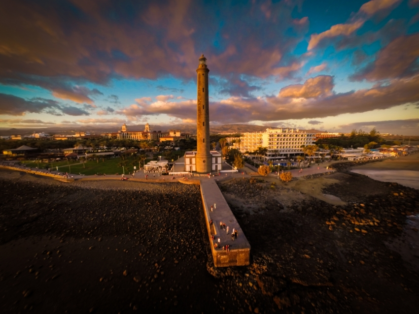 The Maspalomas lighthouse at sunset
